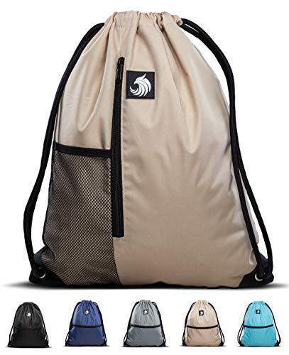 Fitgriff® Turnbeutel für Damen und Herren, Sportbeutel, Gymsack, Rucksackbeutel, Gym Bag Drawstring Backbag Bag (Sand mit Netzfach)