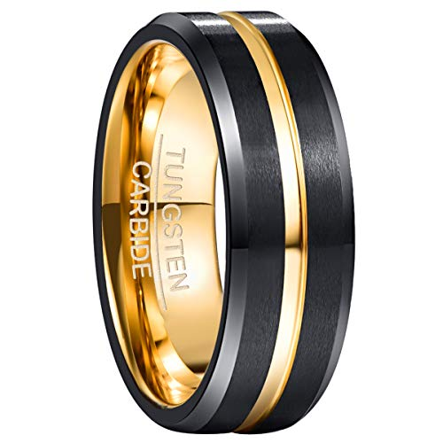 NUNCAD Black Matte Finish Tungsten Wedding Ring for Men/Women Gold Center Groove Beveled Edges Size T 1/2