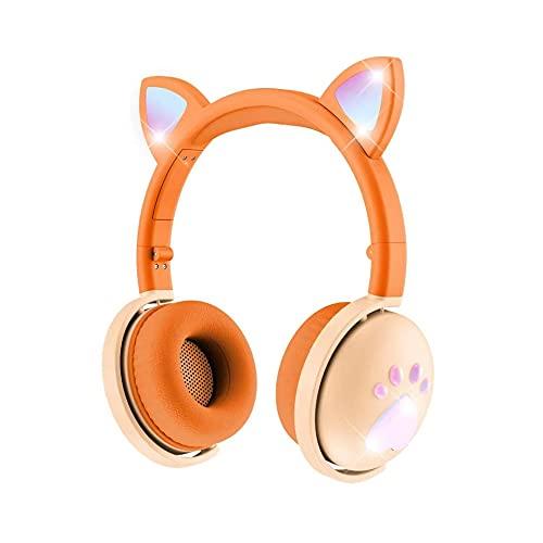Katzenohr-Kopfhörer leuchten...