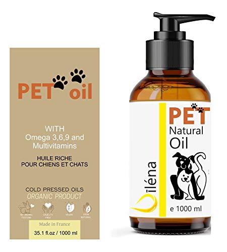 Aceite para Mascotas. Suplemento Alimenticio Natural para Perros y Gatos. Uso Diario. Combinado de 6 Aceites Ricos en Vitamina E y Omega 3, 6 y 9. Prensado en Frío (1000 ml)