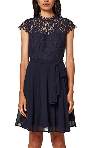 ESPRIT Collection Damen 028EO1E016 Partykleid, Blau (Navy 400), 36