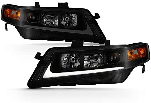 ACANII For Black Smoked 2004 2008 Acura TSX CL9 LED Tube Style Projector Headlights Headlamps product image
