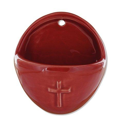 Weihwasserkessel Kreuz oval 8,5 x 10 cm rot
