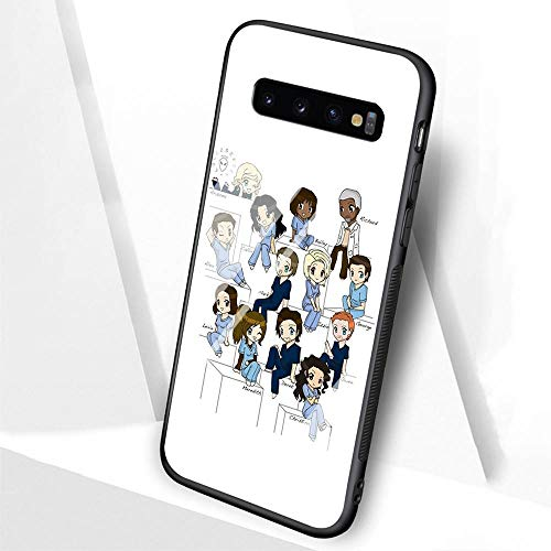DTLI Designed for Samsung Galaxy S10 Plus Case,Tempered Glass Back Cover and TPU Soft Silicone Rubber Frame Provide 360°Full Edge Protection for Mobile Phones TT-48 Grey Anatomy