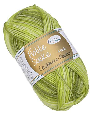 Rellana Flotte Socke Cashmere Merino 50g weiche Sockenwolle mit Kaschmir und Merinowolle zum Stricken & Häkeln (1327 - grün)