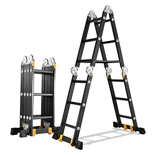 BLWX LY-Step kruk Multifunctionele Vouwladder Aluminium Verdikking Telescopische Ladder Engineering Rechte Ladder Lager 330lb Bouwzolder Thuis