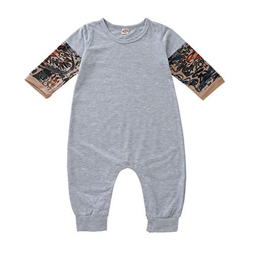 Kobay-Baby Neugeborenes Tattoo Gedruckt Langarm Patchwork Herbst Infant Kleinkind Tattoo Gedruckt Harness Kletteranzug Furz Kleidung (3-18 Mt)