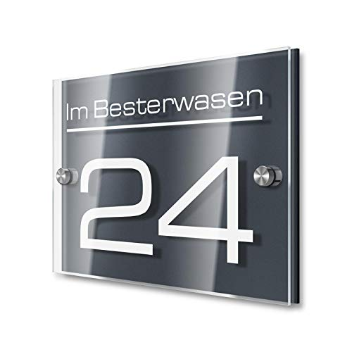 Metzler Hausnummernschild in Anthrazit (RAL 7016) - Made in Germany - Hausnummer inkl. Gravur - 100% Wetterfest - Größen wählbar