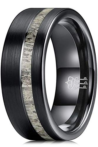 THREE KEYS JEWELRY Mens Rings Unique 8mm Tungsten Carbide for Man Ring Wedding Band Gifts Bands Rings for Men Antler Size 11.5