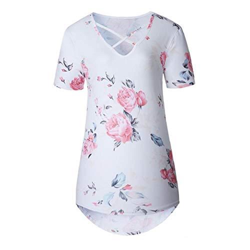 Hiinice Poco Camiseta de la Flor de Las Mujeres Las Mujeres de Manga Corta de Verano Pequeña Flor Impreso Blusa Blanco Ocasional XXXL Tamaño Llevar Latido del corazón