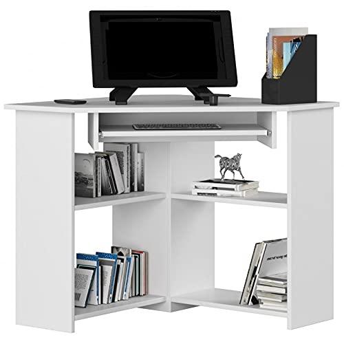 ADGO Escritorio de ordenador esquinero TED 80 x 74 x 80 cm para sala de estar, dormitorio de niños y adolescentes, estudio y oficina, para portátiles y escritorios (blanco)