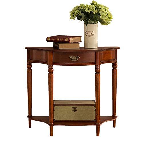 Einfache und Kreative Dekoration Möbel Massivholz Konsolentisch Halbrunder Tisch Hall Konsole Eingangsbereich Schrank Landhausstil Sofatisch, Y-Z, Braun, 90 x 74 x 40 cm
