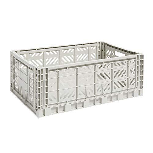 HAY Transportbox grau aus Polypropylene, 507681, hellgrau/Polypropylen/faltbar, stapelbar/lxbxh 60x40x22cm