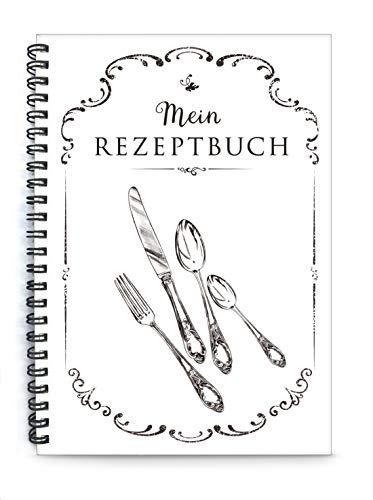 Mein Rezeptbuch, Kochbuch zum Selberschreiben, schwarz weiß Besteck, liniert, DIN A5, Spiralgebunden, Inhaltsverzeichnis u Seitennummerierung