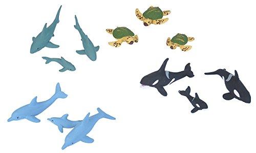 Wild Republic Aquatic Family Animal Figurines Tube, Ocean Toys, Shark, Dolphin, Sea Turtle, Orca, Sea Life Families Collection