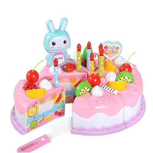 tJexePYK Torta de los niños Juguetes 37 Piezas Juego de imaginación alimento DIY de Corte Fiesta de cumpleaños de la Torta con Velas Juguetes Set Educativo Cocina Rosado del Juguete