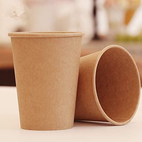 PPuujia Taza de papel Kraft desechable taza de papel café leche bebida caliente taza de papel hogar suministros de cafetería (color 280 ml con tapa)