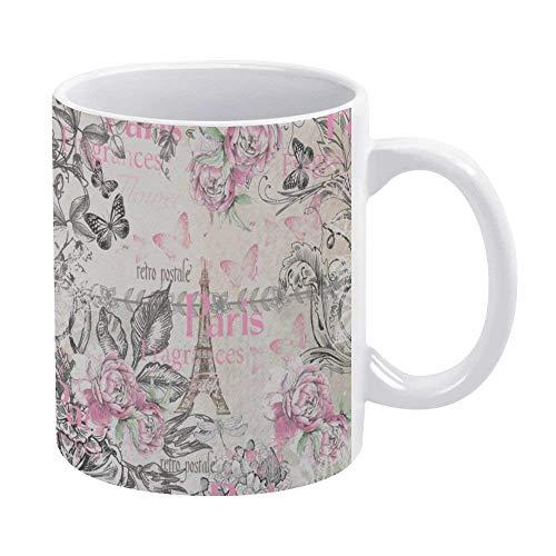 N\A Taza de café de 11 oz, Tazas de cerámica Blanca Vintage Typo Black Pink Floral Paris Torre Eiffel Taza Taza de té para Oficina y hogar