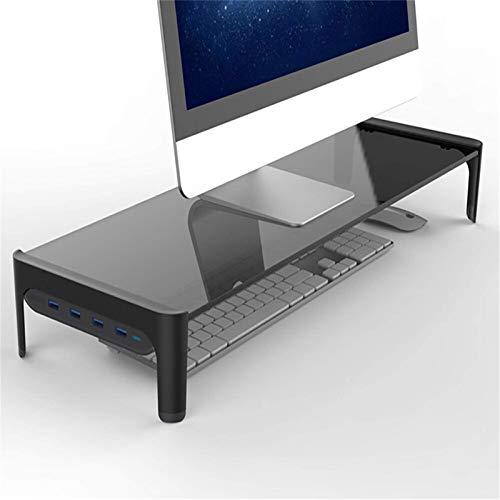 Soporte para monitor y ordenador portátil con carga rápida USB y elevador de pantalla para monitor (tamaño: 610 x 210 x 83 mm), color negro