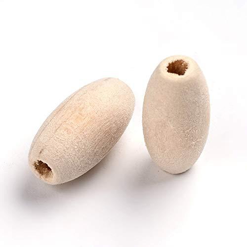 50 cuentas de madera natural de 20 mm para enhebrar, para manualidades, orificio grande de 3 mm, ovalado, perlas espaciadoras, incoloras, sin tratar, para manualidades y fabricación de joyas
