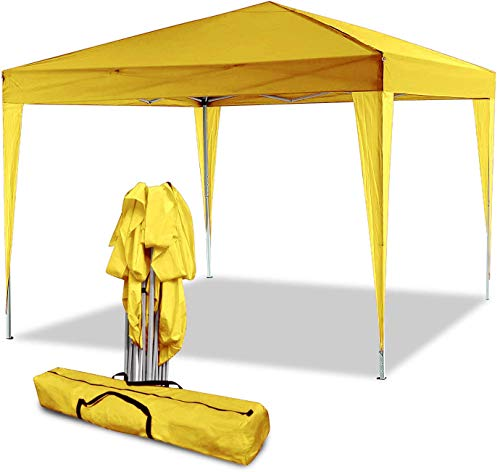 Eloklem Carpa con Paredes | Plegable, Impermeable, con Protección Solar, Ideal para Fiestas en el Jardín | Gazebo, Cenador, Pabellón, Tienda Fiestas (3x3 m, Amarillo)