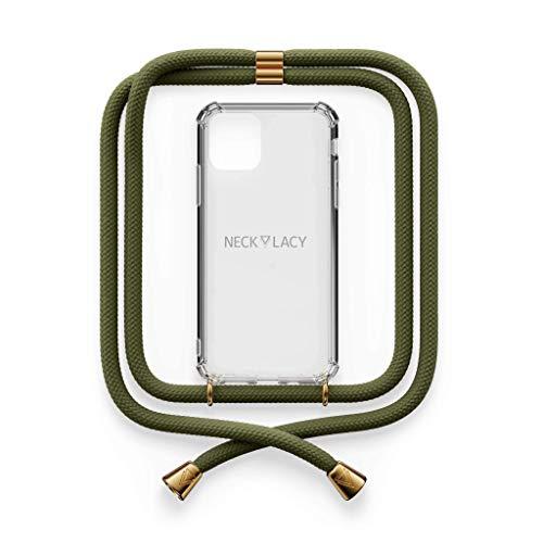 NECKLACY® - La Phone Necklace | Maniglia Trasparente con Elegante cordone per Collana - Smartphone Crossbody Case | per Apple iPhone 7 / iPhone 8 / iPhone SE in Dark Olive