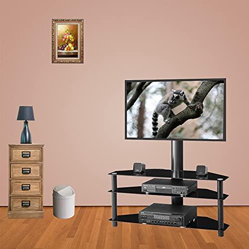 TANGIST TV Stands Black Multi-FUNTE ÁNGULO Altura Sala de Estar Ajustable Vidrio Templado LCD TV Soporte Plasma Estante de Vidrio de Tres Capas