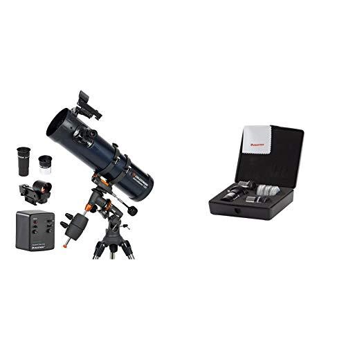 Celestron Astromaster 130EQ-MD, Telescopio, Massimo ingrandimento utile: 307x [Importato da Regno Unito] & CE94307 Kit Oculari e Filtri, Nero
