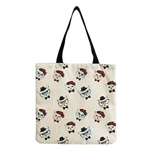 Neaer Tote bag Foldable one-shoulder lady's handbag, cute cat floral print bag, large-capacity environmentally friendly school bag Handbags (Color : Hm0052)