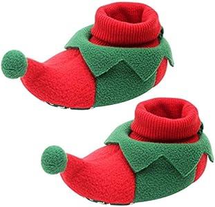 Holibanna Botas de Navidad para niños, zapatillas con suela antideslizante, primeros botas de paseo, Papá Noel, reno, prewalker, calcetines de suelo para recién nacido 0 – 12 meses Size: Small
