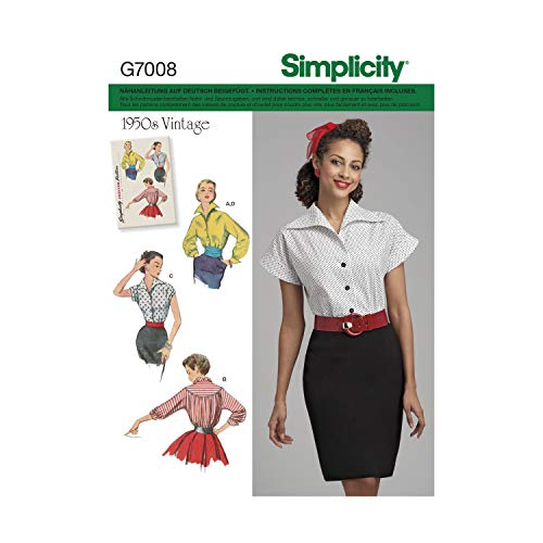 Simplicity Patron 7008 Schnittmuster und Gürtel, Vintage, Weiß, 34-42