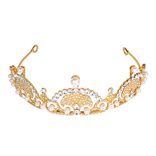 FRCOLOR Rhinestone Nupcial Corona Diadema Mujer Perla Tocado Joyería Princesa Reina Corona...