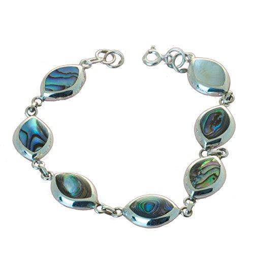 Bella Carina Damen Armband Abalone Paua Muschel, Perlmutt, 925 Sterling Silber