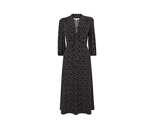 Oasis Damenkleid mit herzförmigem Lavallière in Schwarz - Krawatte im Nacken - Dreiviertelärmel - XL