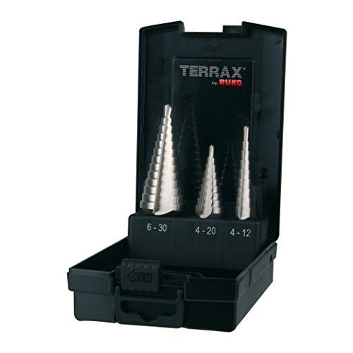 TERRAX by RUKO 3-teiliger Stufenbohrer-Satz HSS gerade genutet, in den Größen 0/9, 1, 2 in stabiler, praktischer Kunststoffkassette, 1 Stück, A101126RO