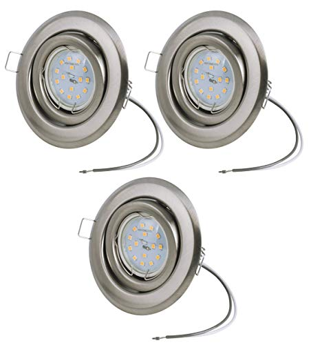 3er Set Ultra flacher Einbaustrahler + 230Volt 5Watt 400Lumen LED warmweiss Abstrahlwinkel: 110Grad | Lochmaß: 75-85mm, Einbautiefe: 30mm