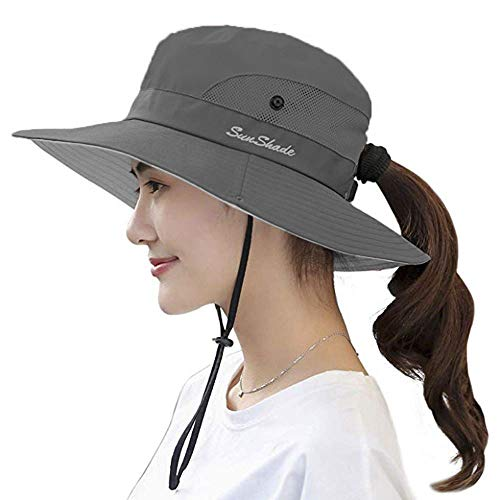 UPF 50+ Wide Brim Sun Hat Waterproof UV Protection Bucket Boonie Hat for Women Grey