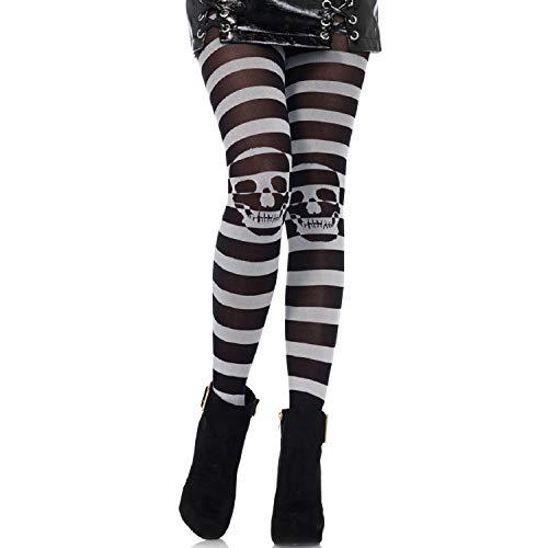 Leg Avenue 7131 - gestreepte panty met schedel illusion, één maat, zwart-grijs