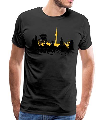 Skyline Dortmund Männer Premium T-Shirt, M, Schwarz