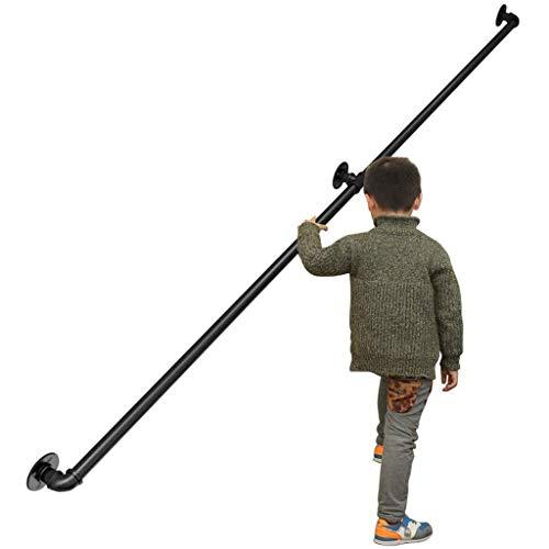 GuoEY Handlauf 30-300cm - Komplettset.Wandmontage Mattschwarzes Treppengeländer Schmiedeeisen 3,2 cm Rohr Treppengeländer Handlauf Geländerhalterung