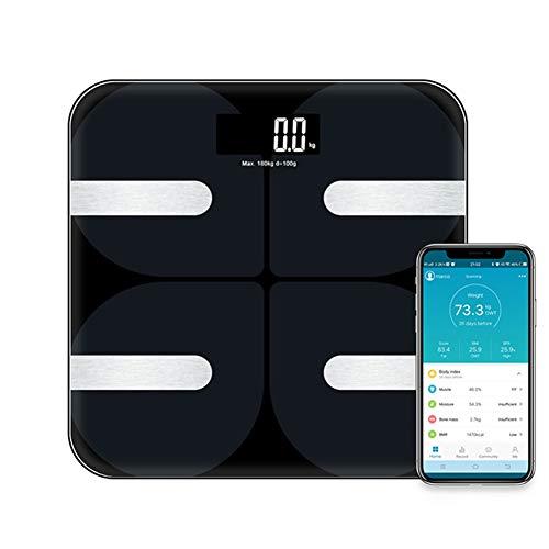 WXF Digitale Körperfettwaage, Bluetooth Elektronische Personenwaage, 18 Körpermaß Indicators, 8 Benutzer Unterstützung, Gewicht/Körperfett-Rate