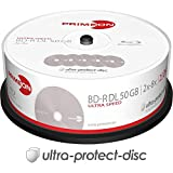 Primeon 2761318 BD-R DL Cakebox 25 disques 50 Go/2-8x Surface Ultra protectrice Argent
