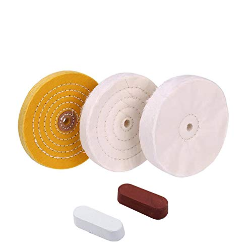 6 inch Buffing Polishing wheel 1/2 Inch Arbor Hole for Bench Grinder with 2Colors Polishing Compounds Kit,Buffer Tool Coarse Medium Soft 5pcs