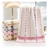 WSZMD Toalla Suave Súper Suave Y Absorbente Baño Puro Algodón Asedio Volver Word Baño 33 X 74cm Gotas Lluvia Paraguas Baño, Toallas Set (Color : Pink, Size : 74x34cm)