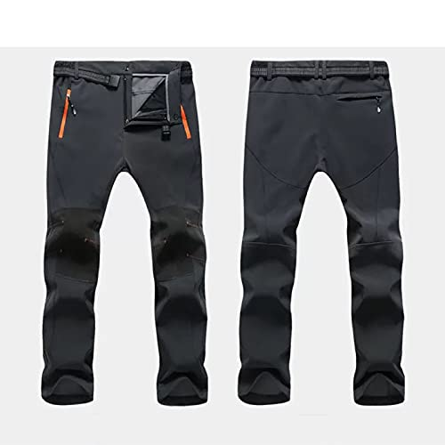FAMOUHOME Pantalones Trekking Hombre, Pantalones De Nieve, Impermeables Pantalones De Trabajo Termicos Montaña Senderismo Esqui Snowboard Invierno Polar Forrado Aire Libre (4XL,Gris)
