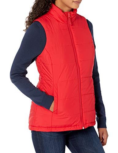 Amazon Essentials Chaleco Globo de Peso Medio Outerwear-Vests, Rojo, 38-40