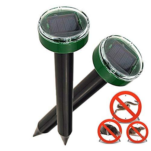 Nurkoo 2 Stück Solar Maulwurfabwehr IP65 Ultrasonic Solar Maulwurfschreck,Mole Repellent, Wühlmausschreck, Wühlmausvertreiber, Maulwurf Vertreiber für Den Garten Rasen Hof-Grasgrün