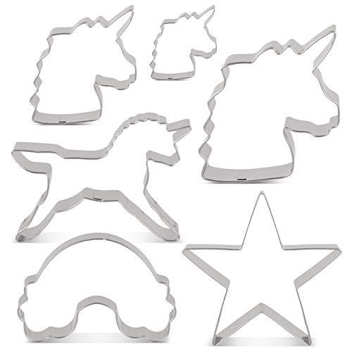 KENIAO Einhorn Plätzchen Ausstechformen Keksausstecher Set - 6 Stück - Einhornkopf Groß/Mittel/Klein, Einhorn, Regenbogen & Stern - Edelstahl