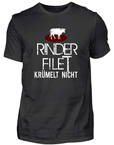 Lustiges Rinder Filet Krümelt Nicht! - Fleisch BBQ Veggie Vegan Grillen Essen Food Anti - Herren Shirt -XXL-Schwarz