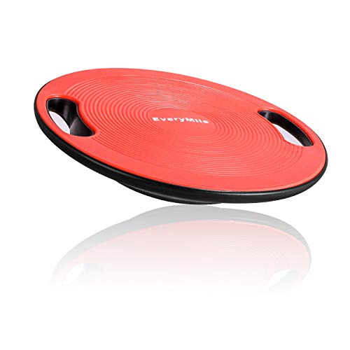 """EveryMile Wobble Balance Board, Exercise Balance Stability Trainer Portable Balance Board with Handle for Workout Core Trainer Physical Therapy & Gym 15.7"""" Diameter No-Skid Surface"""